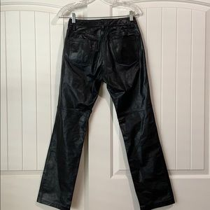 Gap Black Leather Straight Leg Pants